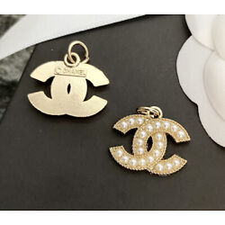 1 Piece Stamped CHANEL Faux Pearl Gold Metal Zipper Pull 22mm