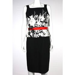 NEW David Meister Dress Size 8 Black White Sheath Floral Knee Length Casual