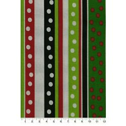 LINED VALANCE 42 X 15 CHRISTMAS POLKA DOT AND STRIPES HOLIDAY GREEN RED