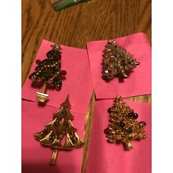 set of 4 Christmas Tree Brooches. Multi Colors