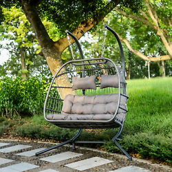 Luxury  2 Person  Hanging Egg Chair Swing Wicker Hammock with Stand Outdoor