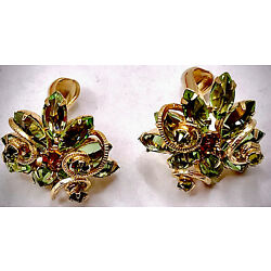 Dainty Pastel-Green Cluster SCHREINER NEW YORK Inverted Stones CLIP-EARRINGS