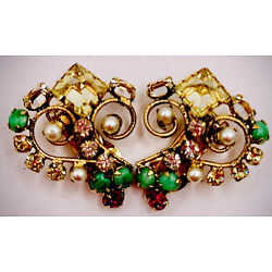 Intricate Tiny-But-Mighty SCHREINER Pastel Inverted+Cabochon CLIP-EARRINGS