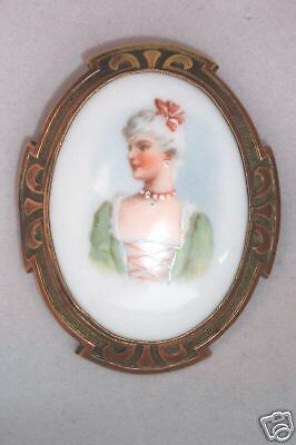 Antique Porcelain Victorian Portrait Pin In Art Nouveau