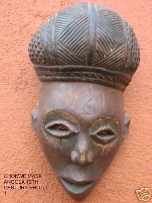 CHOKWE CARVED WOOD FEMALE MASK (PWO) FROM ANGOLA - from SUEZYT
