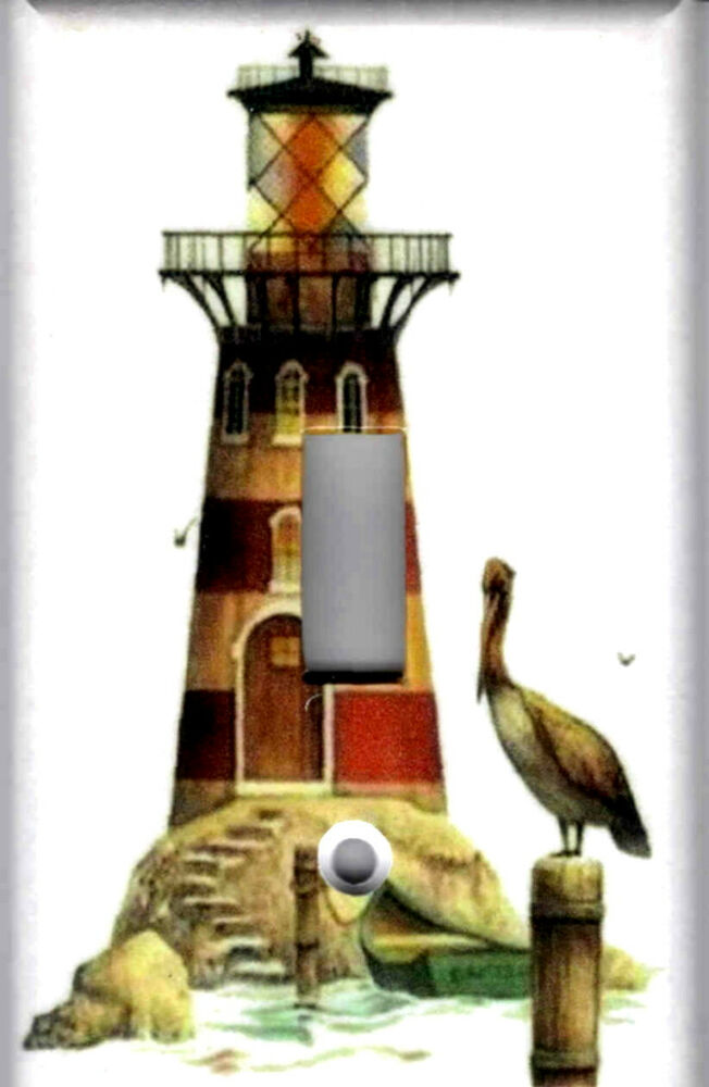 Lighthouse With Pelican Lighthouse Nautical Home Wall Decor Light Switch Plate Ebay