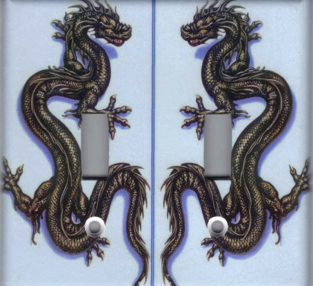 Chinese Dragon Asian Home Wall Decor Double Light Switch