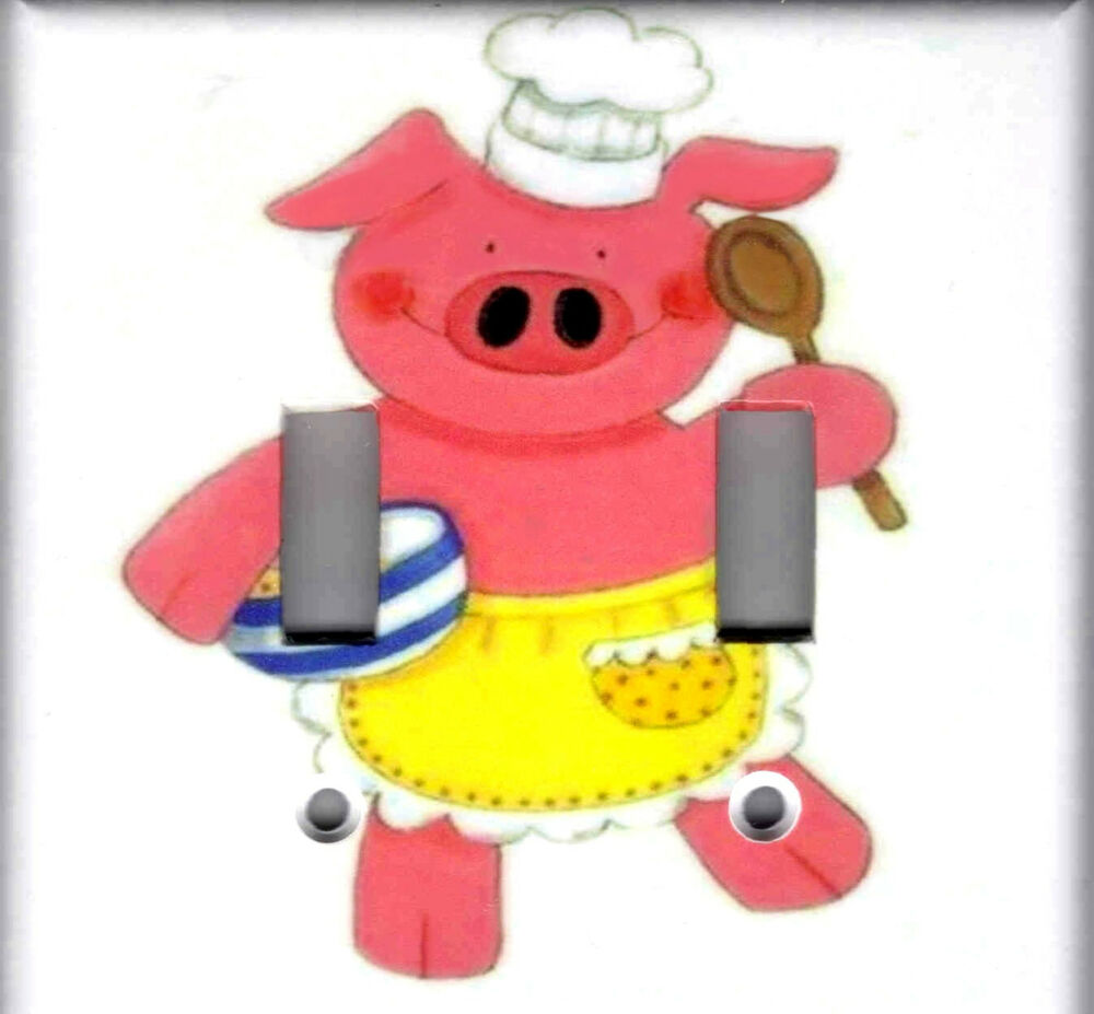 Kitchen pig home wall decor double light switch plate ebay Pig kitchen decor