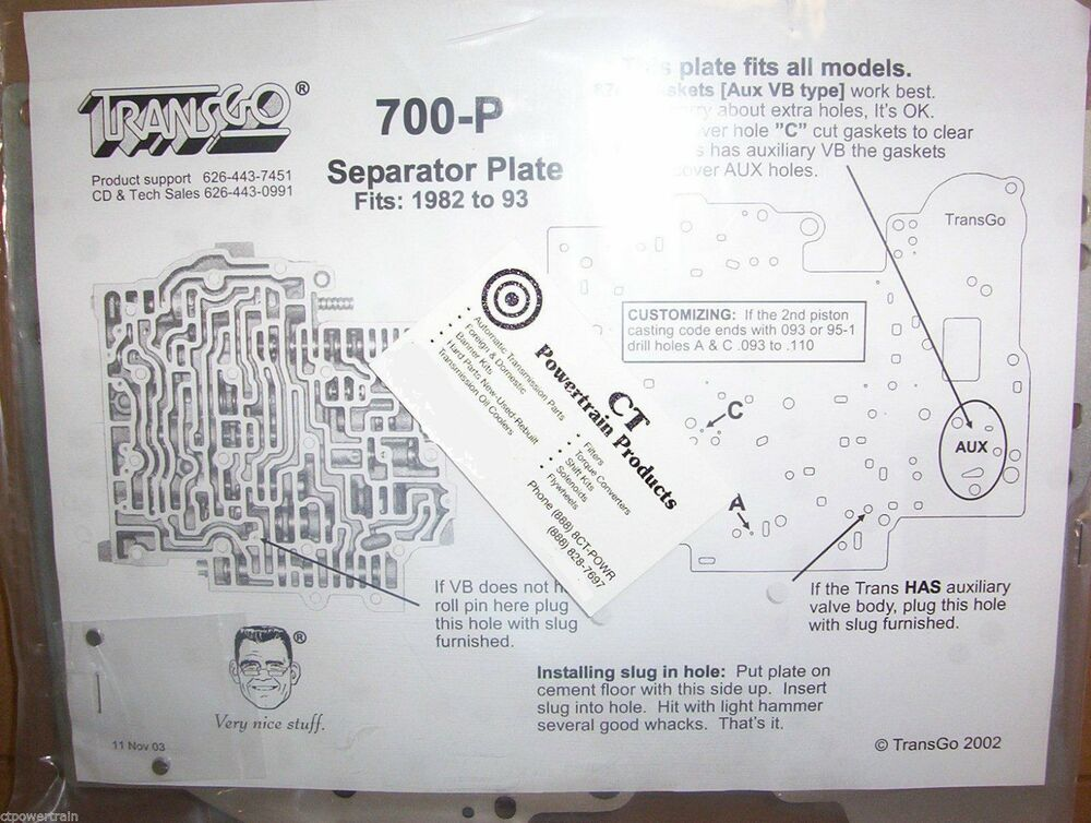 Rebuild Automatic Transmission >> TransGo 700R4 7R4 700 4L60 New Updated Valve Body Separator Plate 700-P Tempered | eBay