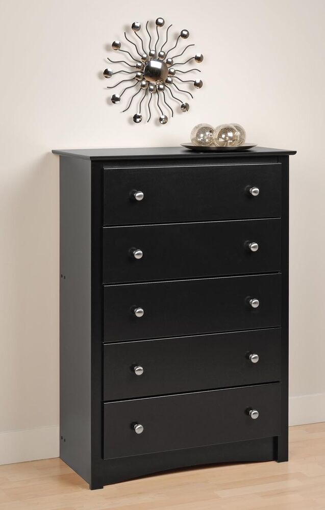 Bedroom sonoma 5 drawer dresser chest black new ebay for Bedroom 5 drawer chest