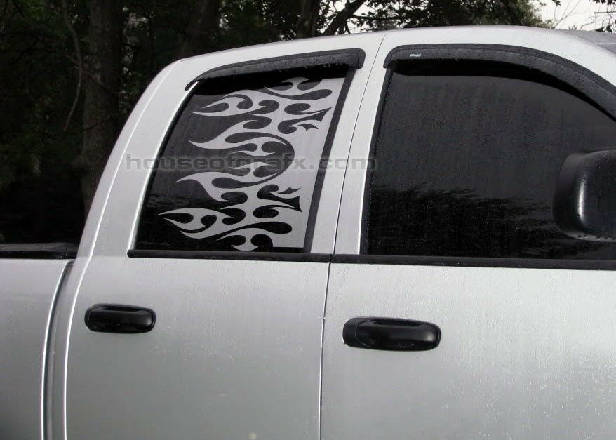 Universal rear window flame flames decal decals graphics for Window graphics
