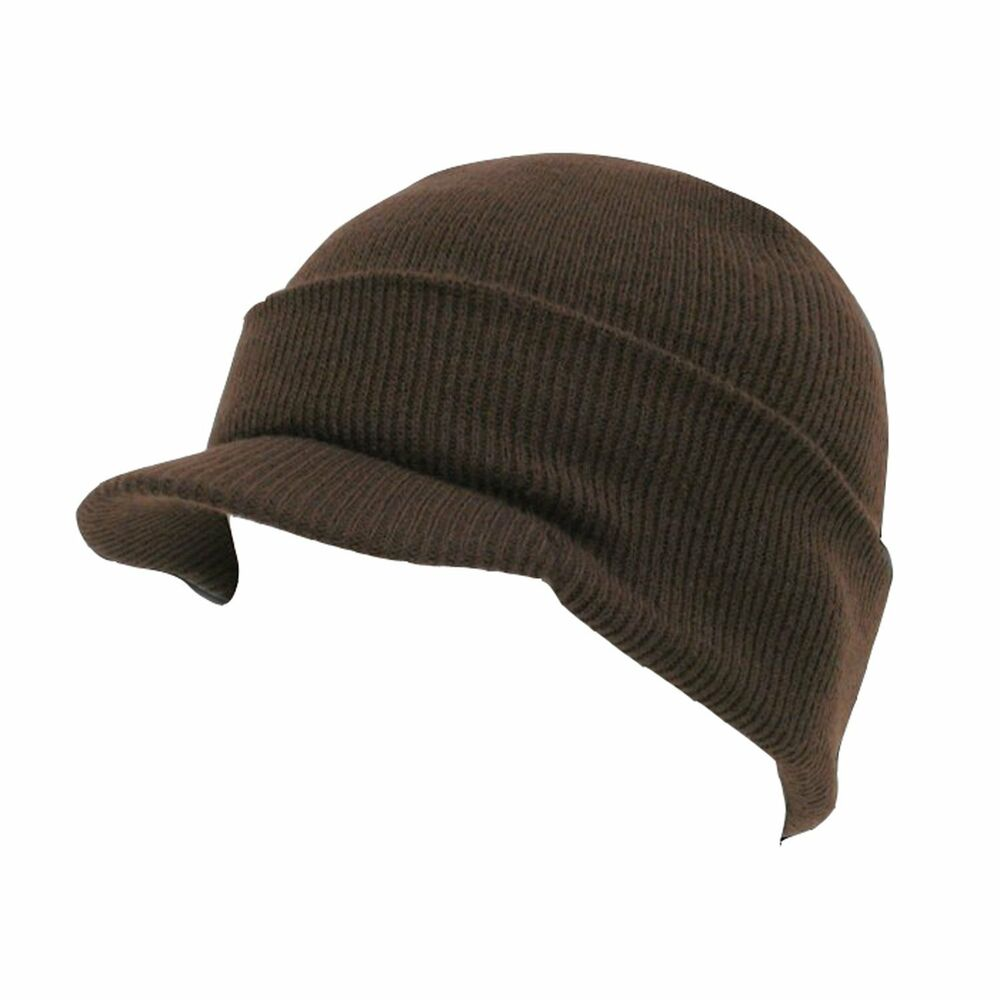 83695294262e6 Details about BROWN VISOR BEANIE KNIT JEEP CAP SKULL SKI CAPS WINTER HAT  HATS