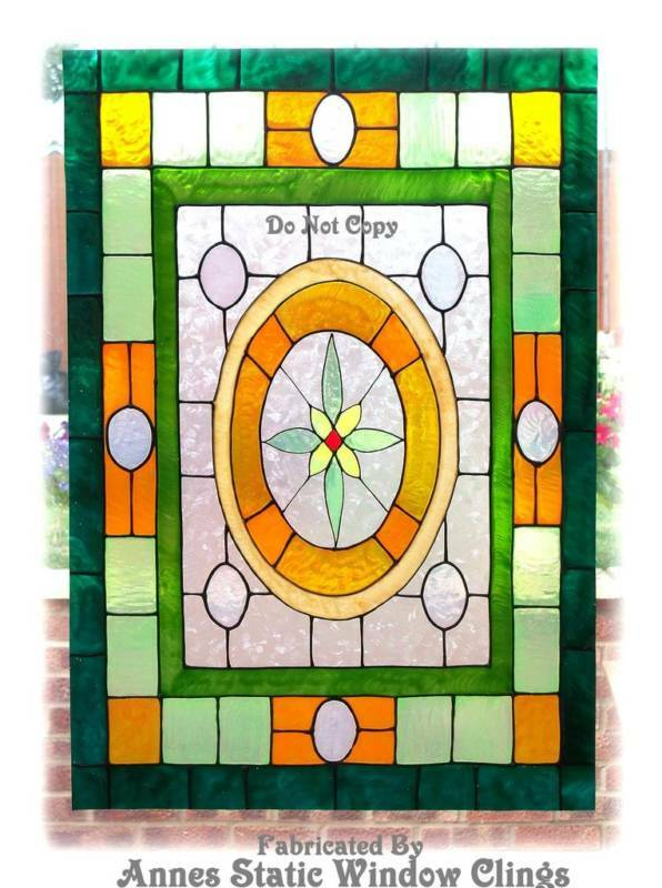 Victorian window cling stained glass effect decal sun for Decorative window film stained glass victorian