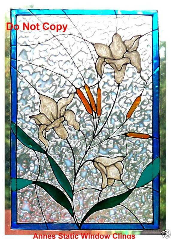 Lily Panel Window Cling Stained Glass Effect Sun Catcher