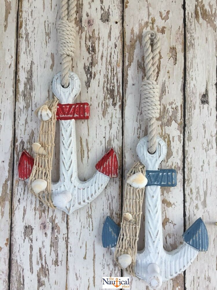 2 wooden anchor wall hooks wood nautical boat decor for Anchor decoration