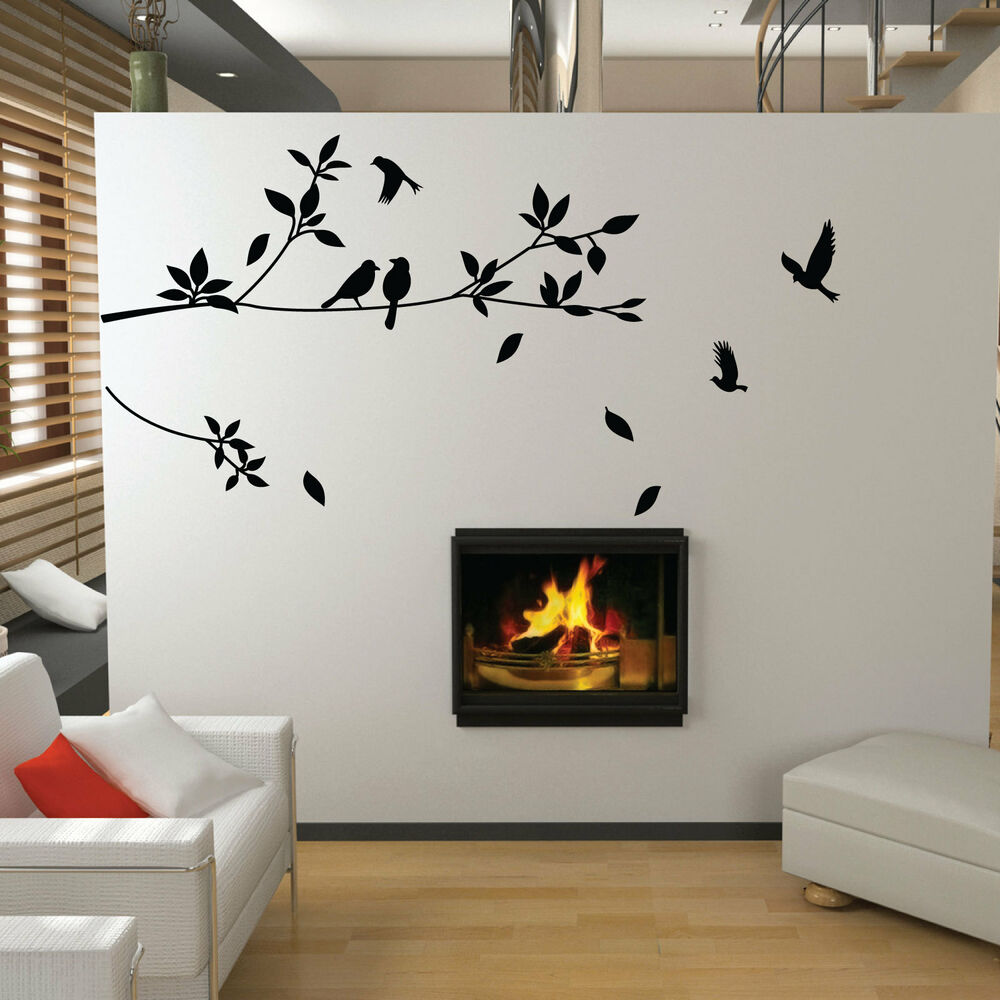 Tree and bird wall stickers vinyl art decals ebay for Black tree wall mural