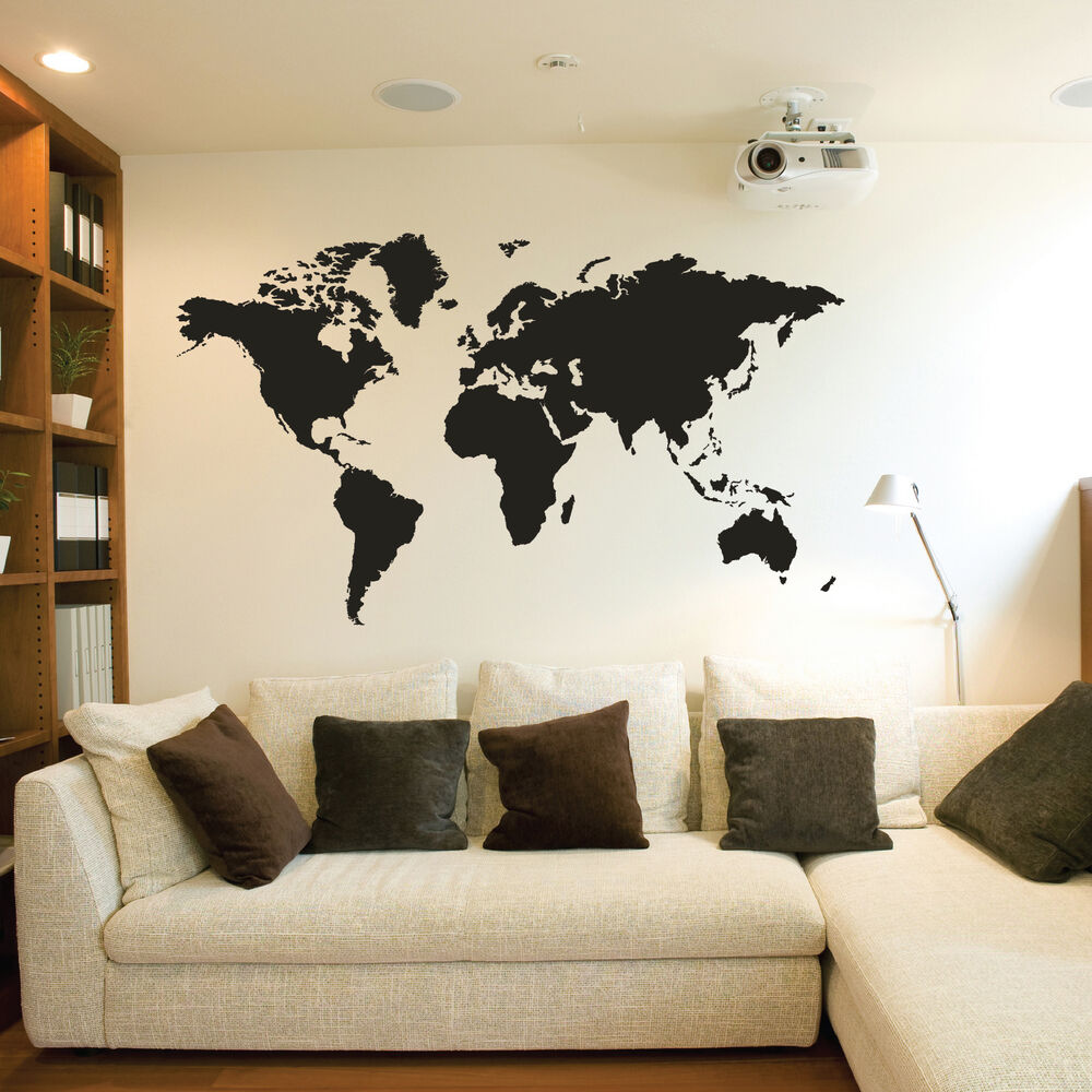 world map wall stickers vinyl art decals ebay. Black Bedroom Furniture Sets. Home Design Ideas