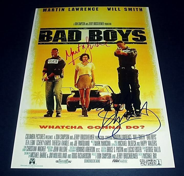 BAD BOYS CAST X2 PP SIGNED POSTER 12X8 WILL SMITH