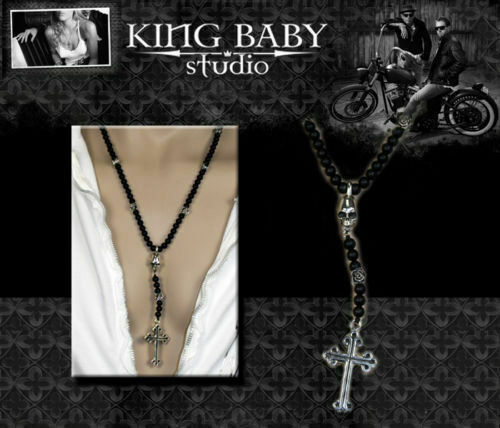 King Baby Studio Onyx Rose Skull Cross Rosary Necklace Ebay