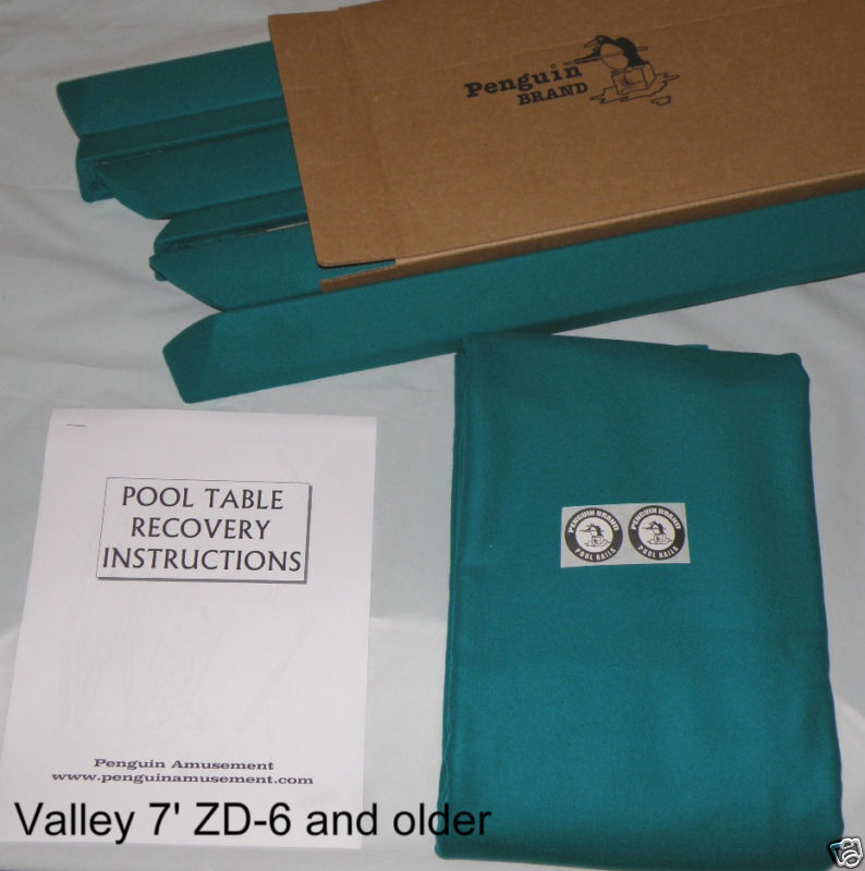 Pool Table Cloth Replacement Kit: Pool Table Rails For 7' Valley, Covered, Plus Bed Cloth