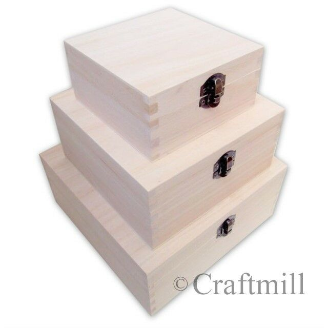 How To Make A Decorative Wooden Box: 3 In 1 Plain Wooden Boxes - Decorate Your Own Box /gift
