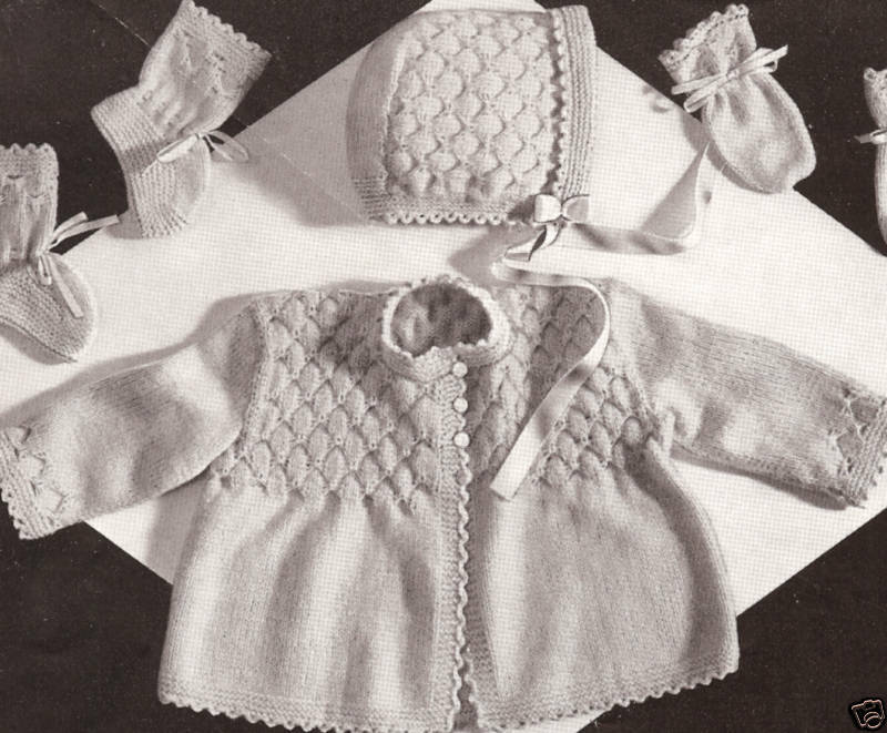 Vintage Knitting Patterns For Babies : Vintage Knitting PATTERN to make Baby Smocking Set Sweater ...
