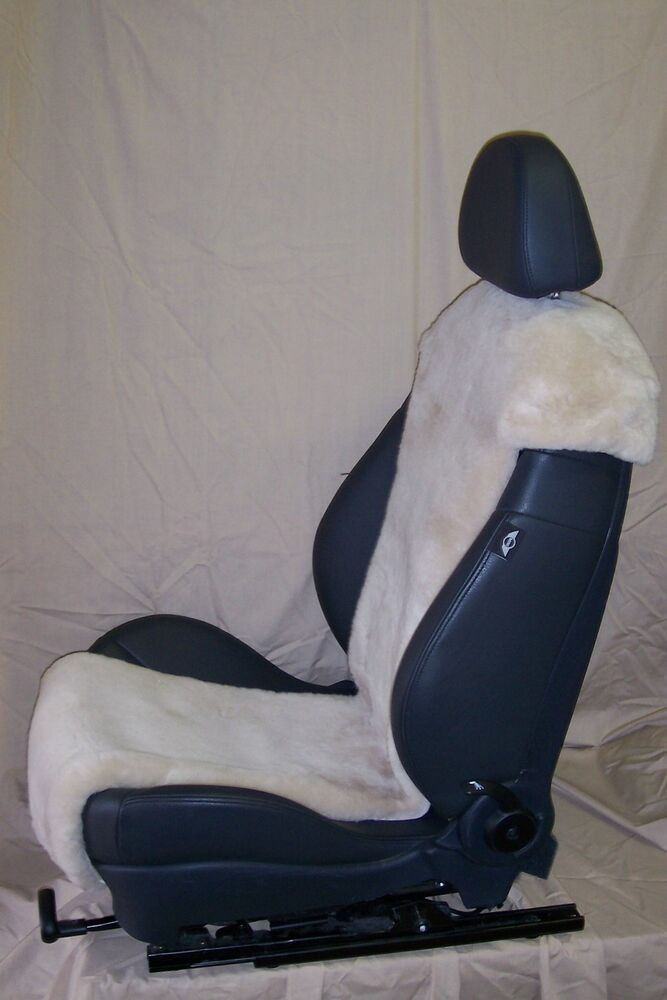 mini cooper factory sheepskin seat covers inserts beige color one pair ebay. Black Bedroom Furniture Sets. Home Design Ideas