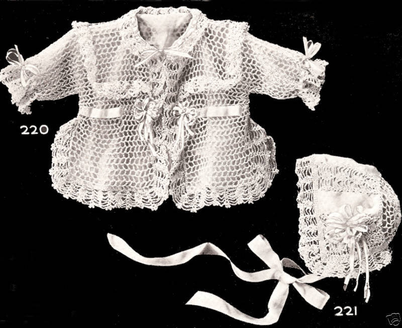 Vintage Antique Crochet Pattern To Make Baby Sacque Jacket