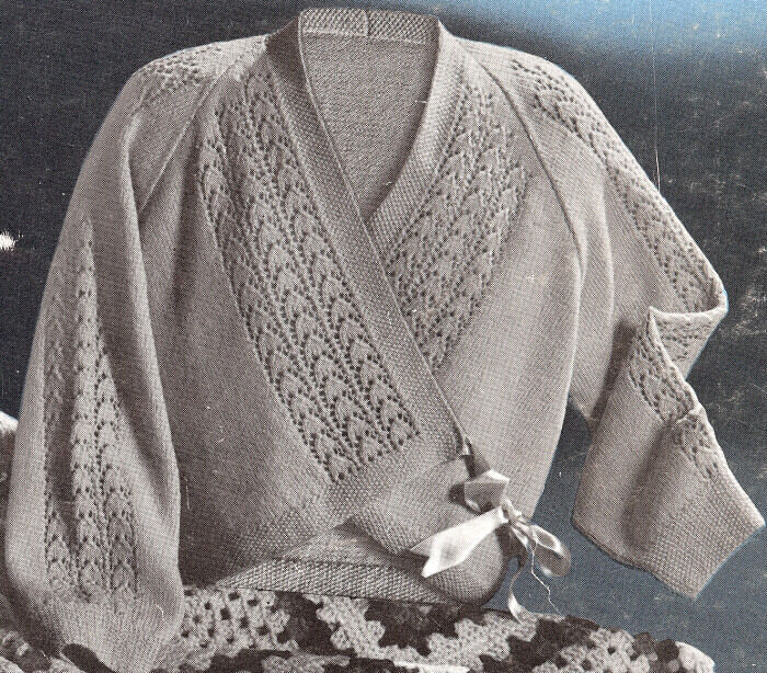 Knitting Pattern Lace Jacket : Vintage Knitting PATTERN Bed Jacket Sweater Wrap Lace eBay