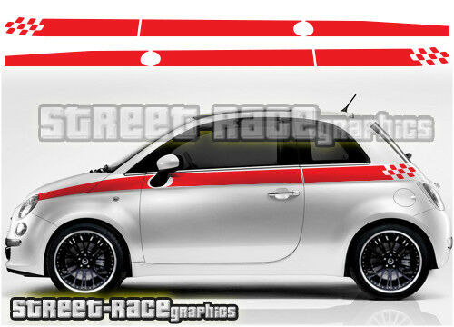 fiat 500 007 chequered flag side stripes stickers decals ebay. Black Bedroom Furniture Sets. Home Design Ideas