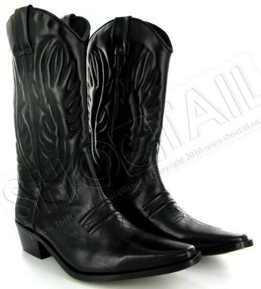 mens calf length leather cowboy boots black size 6 11 ebay