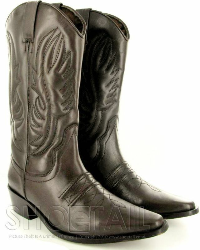 mens calf length leather cowboy boots brown size 6 11 ebay