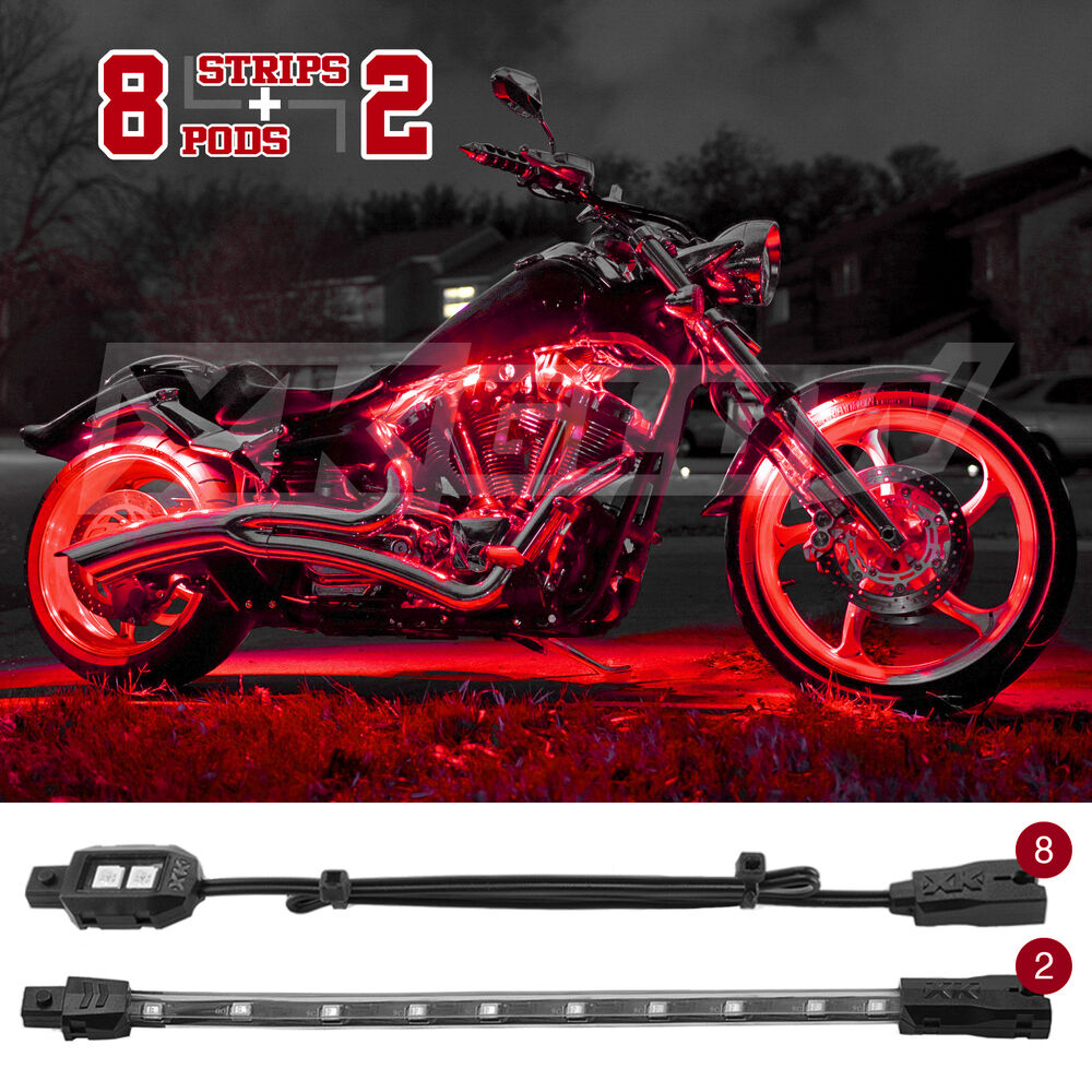 10pc Led Motorcycle Atv Accent Engine Light Kit Fits All