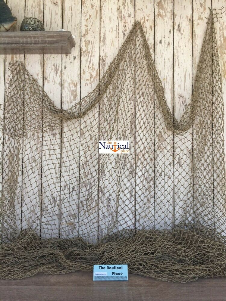 Authentic fishing net 10 39 x 10 39 vintage fish netting for Fish net decoration ideas