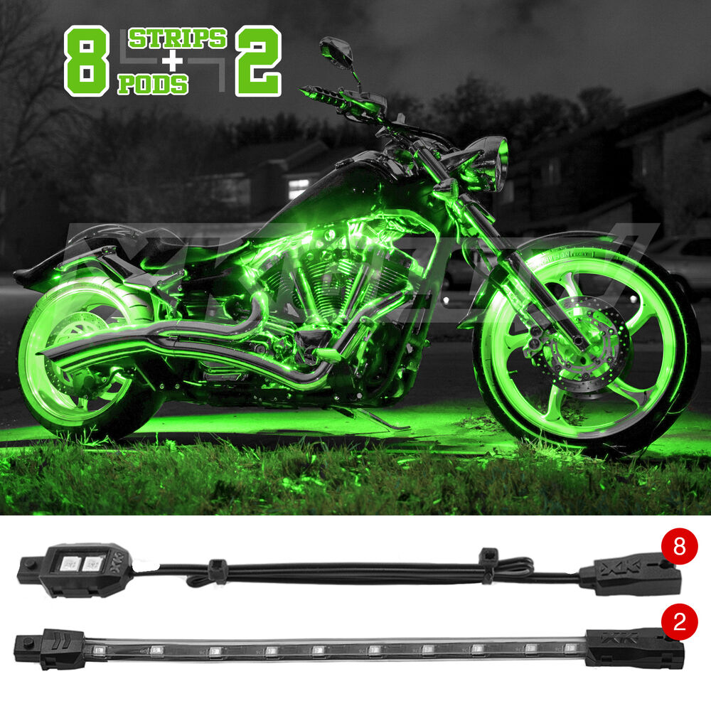 10 pc bright led motorcycle accent light kit yamaha honda kawasaki. Black Bedroom Furniture Sets. Home Design Ideas