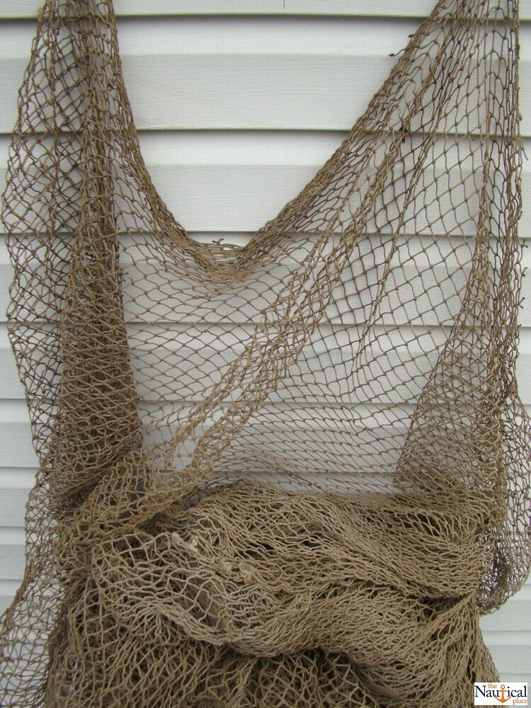 Authentic used fishing net old vintage fish netting for Net decoration ideas