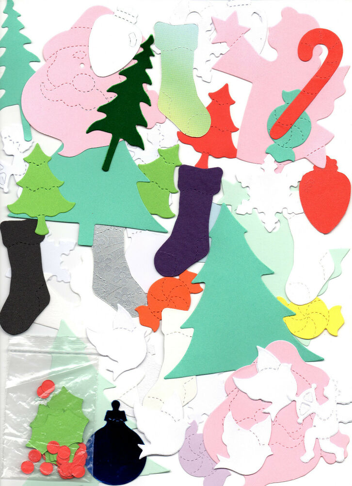 100 x MIXED CHRISTMAS Sizzix Die Cut Shapes For Card ...