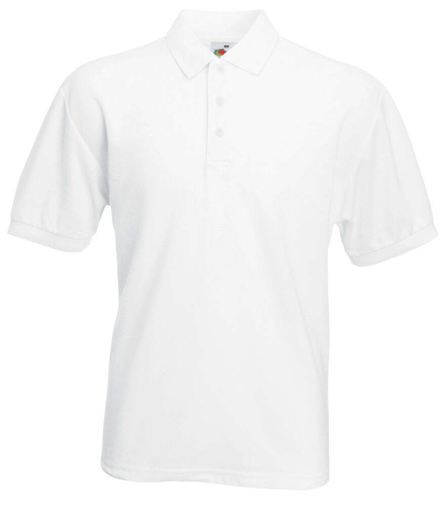 2 pack fruit of the loom white polo t shirts xxxl 3xl ebay. Black Bedroom Furniture Sets. Home Design Ideas