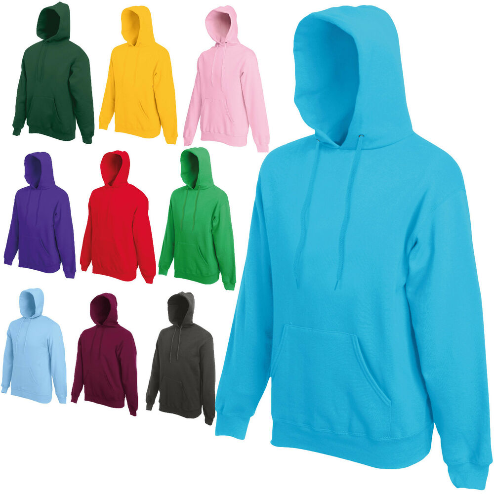 fruit of the loom hooded top hoodie 20 colours s xxl ebay. Black Bedroom Furniture Sets. Home Design Ideas