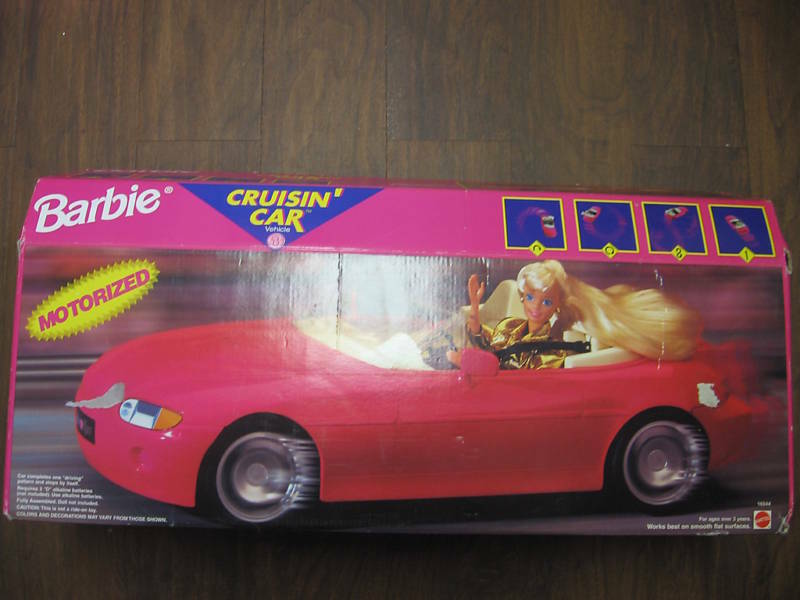 18 barbie cruisin 39 car red pink motorized convertible for Motorized barbie convertible car