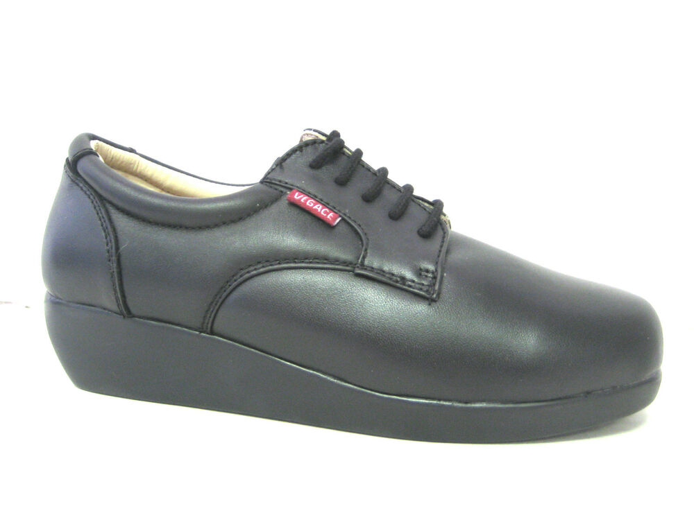 vegace black soft leather comfort restaurant shoe