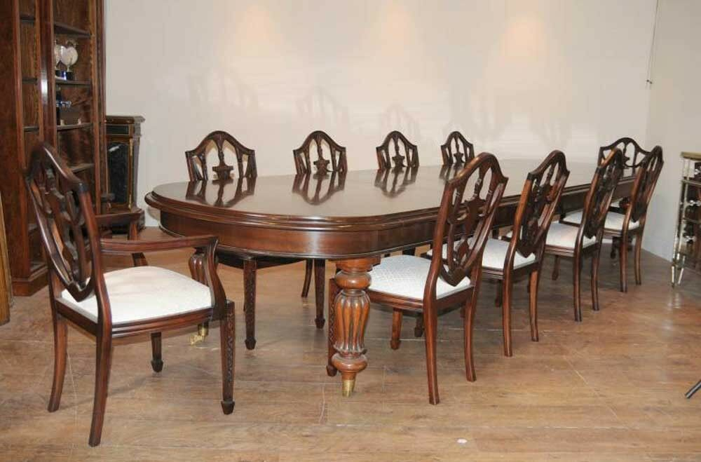 victorian dining table set 10 federal chairs suite ebay. Black Bedroom Furniture Sets. Home Design Ideas