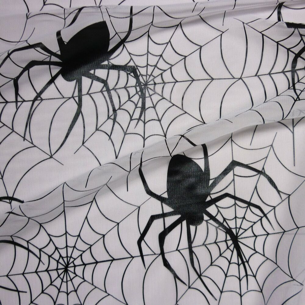 Spider Web Halloween Decorations: White Tulle Spider Web Net LRG Black Spiders Fabric P/M