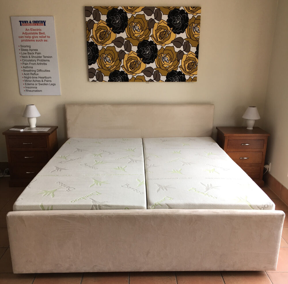 New King Queen Double Electric Adjustable Beds With Memory Or Latex Mattress Ebay