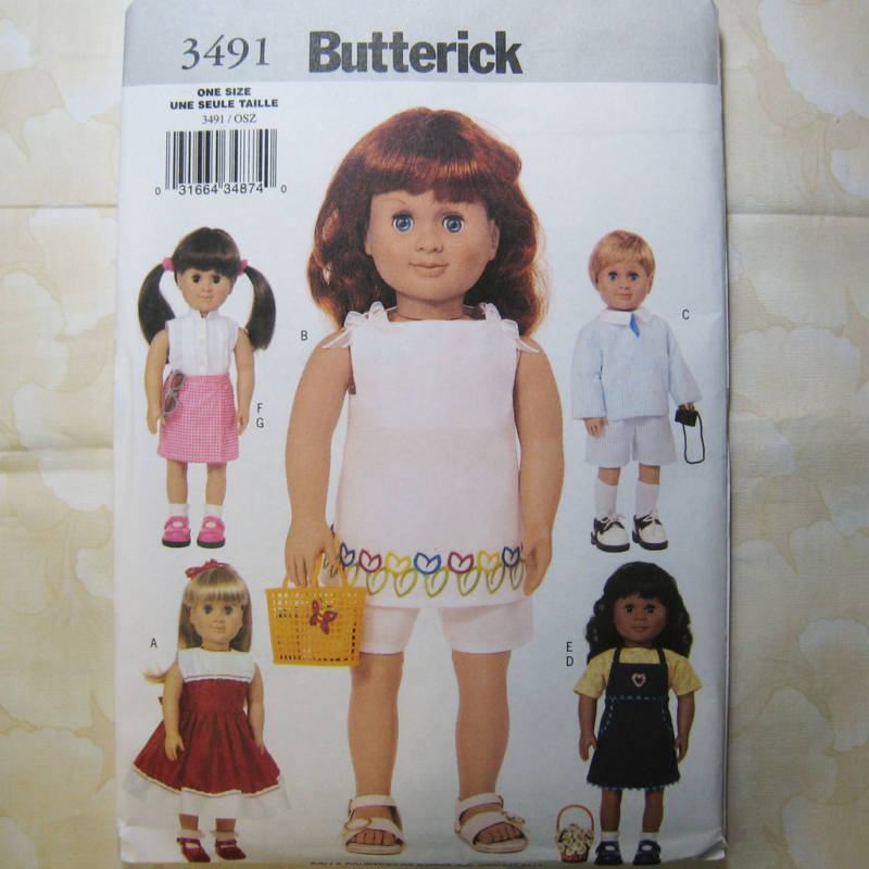 Butterick 3491 18 Inch Doll Clothes Patterns 5 Designs Ebay
