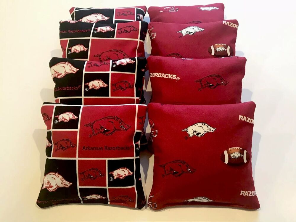 8 Cornhole Bean Bag Baggo Corn Hole Arkansas Razorbacks Ebay