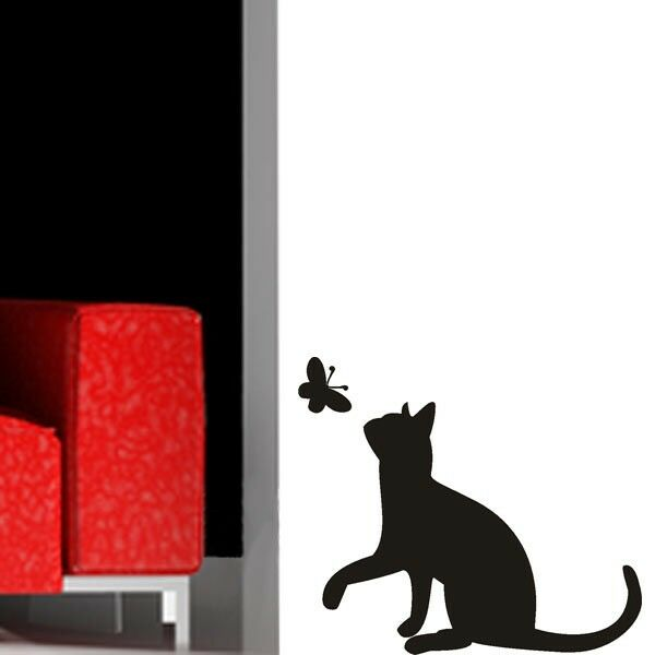 wandtattoo set katze und schmetterling wand deko aufkleber. Black Bedroom Furniture Sets. Home Design Ideas