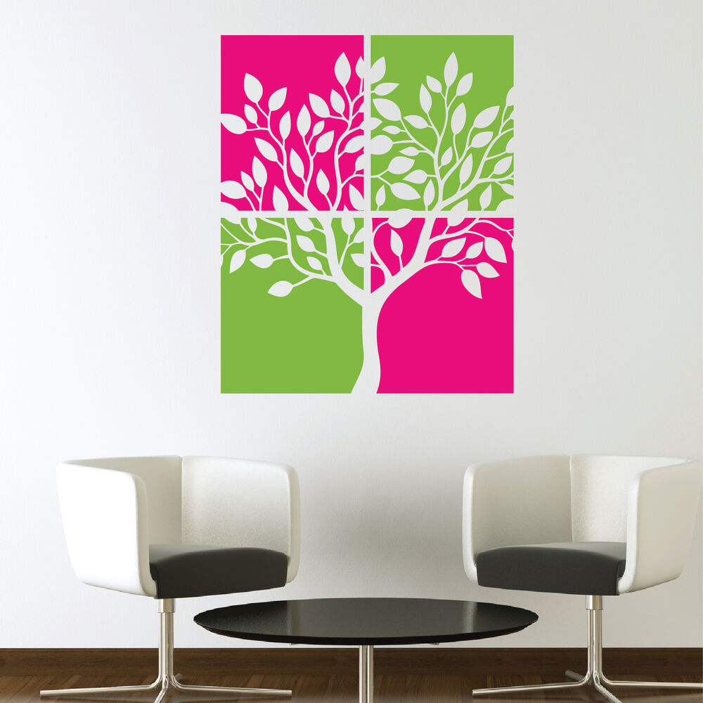 Canvas style tree vinyl art wall stickers wall decals ebay for Vinyl wall art