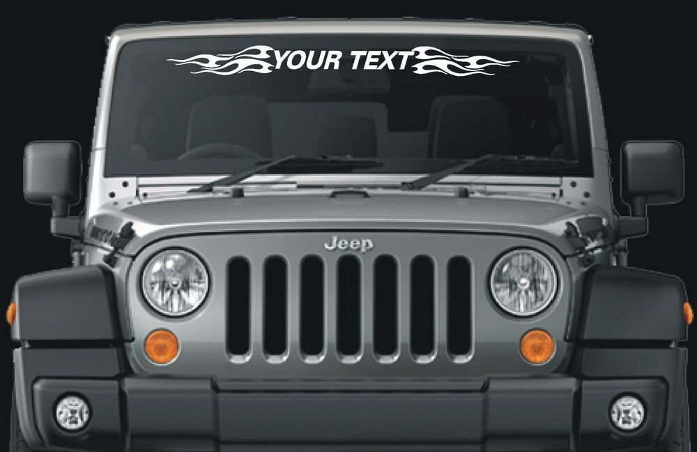 Fits Jeep Wrangler custom windshield decal flames | eBay