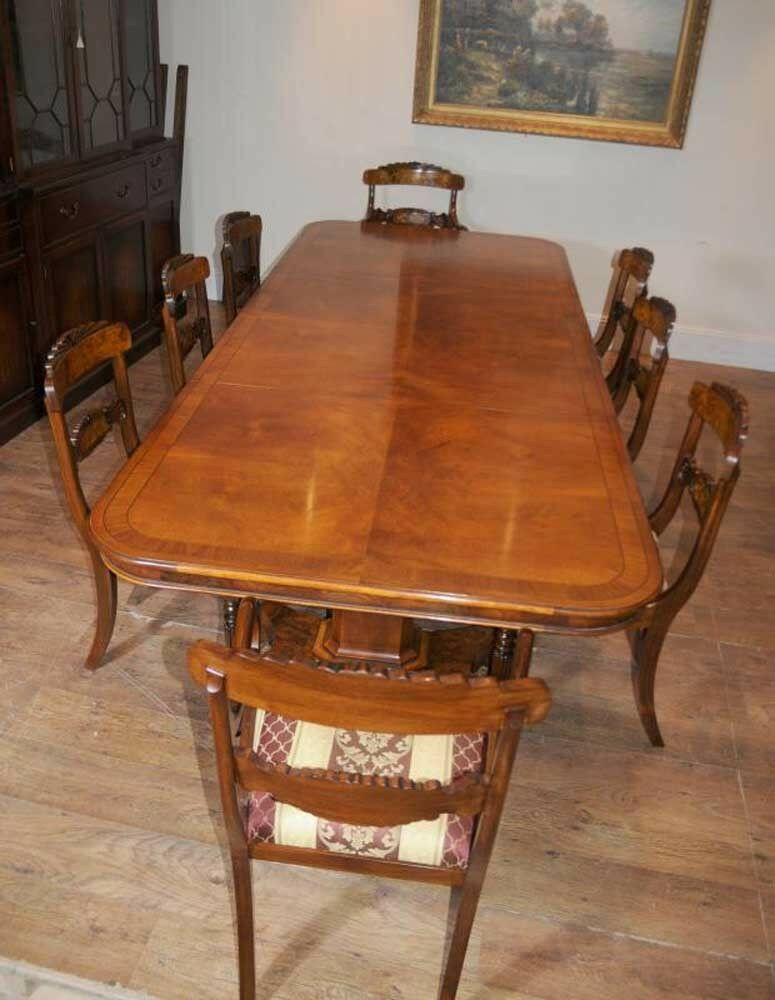 regency dining table walnut set inlay william iv chairs ebay